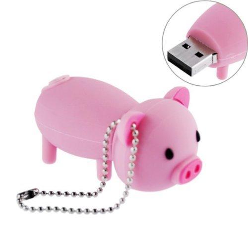 Rrunzfon chiavetta usb da 16 gb con chiavetta usb da 16 gb con cavità in gomma piggy pig rosa - rosa
