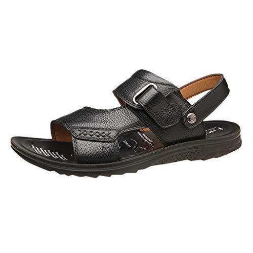 iHAZA Herren Freizeitschuhe Strand Sandale Leder Flip Flops Schuhe -