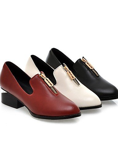 ZQ DONNE - Ballerine - Comoda/A punta - Quadrato Finta pelle - Nero/Rosso/Bianco , red-us8 / eu39 / uk6 / cn39 , red-us8 / eu39 / uk6 / cn39 white-us8 / eu39 / uk6 / cn39
