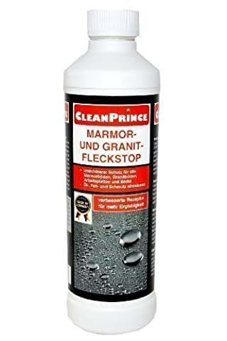 CleanPrince Marble- and Granite - Spot top 500 ml, Waterproofing Fine Porcelain Stoneware Floor Marble Floors Granite Natural stone Tiles Water protection Stain protector First-line Treatment After Collection and After Grout out the Granite tiles etc. also for Window Sills Window Sill Wall Tiles Bath Bathroom Etc Stain Stop Anti Blot Stains Water marks