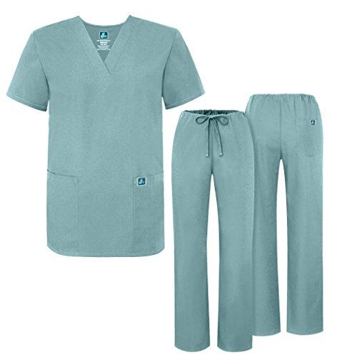Pink Camo Scrubs (Adar Universal Krankenhaustunik mit Kordelzug, Unisex Gr. Small, Submarine)