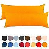 Seitenschläferkissen - 2er Set Seitenschläferkissen Bezug 40x145 Kissenbezug Stillkissen-bezug, Jersey Qualität Kissenhüllen mit Reißverschluss 100% Mako-Baumwolle, Classic Line aqua-textil 0010098 orange