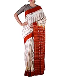 Unnati Silks Women Cream-Orange Pure Handloom Sambalpuri Cotton Ikat Saree(UNM22073)