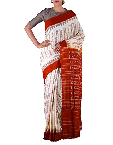 Unnati Silks Women Cream-Orange Pure Handloom Sambalpuri Cotton Ikat Saree(UNM22073)