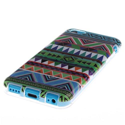 Pour iphone 5C Coque, MYTHOLLOGY - Rétro Fleur Doux Flexible, Premium Silicone TPU Arrière Housse Etui Coloré Tribal