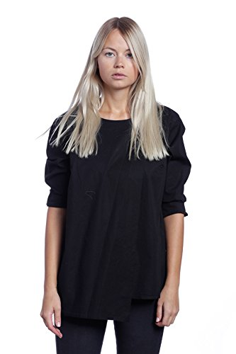 Abbino X6012 Blusa Top para Mujer - Hecho en ITALIA - 3 Colores - Verano Otoño Invierno Mujeres Femeninas Elegantes Camisa Manga Larga Casual Vintage Fiesta Fashion Rebajas - Negro - XXXL 46