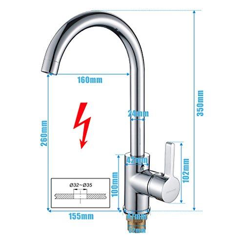 Auralum® 2 Jahre Garantie Niederdruck Mischbatterie mit Groß C Form 360° Drehbar Armatur Wasserhahn Küchearmatur Einhandmischer für Spüle Küche - 2