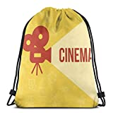 BBABYY Printed Drawstring Backpacks Bags,Projector Silhouette with Cinema Quote Movie Symbols Background,Adjustable String Closure