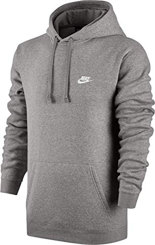 Nike Herren M Nsw Hoodie Po Flc Club Kapuzenpullover, Grau (Dark Grey Heather/Dark Grey Heather/White), L