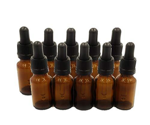 10er packung x 15ml Braunglas-aromatherapie-flaschen (Leer) mit schwarzem Gummi Pipette Tropfer Kappe