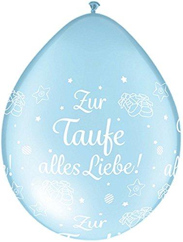 DeCoArt... 5 Latexballons Luftballons Neck Up Zur Taufe alles Liebe perl hellblau ca 13 cm nicht ballongas geeignet
