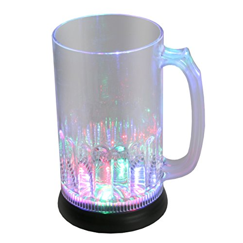 LED-Highlights Glas Becher Bierglas 800 ml LED Rgb bunt oder blinkend Batterie wechselbar Bar...