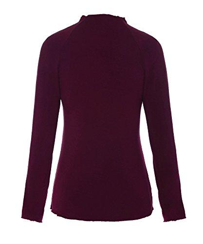 ReliBeauty – Femme – Tops – manches longues – couleur unie Pourpre