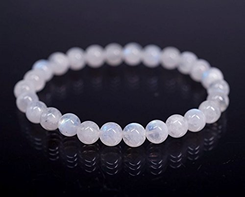 Aeora :Rainbow Moonstone- Stone for Happiness,8mm bead bracelet for daily wear/office wear/party wear,Natural Gem/Semi Precious Stones Strand Bracelet for Men/Women/Boys/Girls. Fashion Healing Accesories