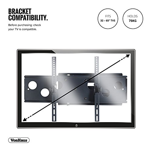 """VonHaus 32-65"""" Tilt & Swivel TV Wall Mount Bracket with Built-In Spirit Level for LED, LCD, 3D, Curved, Plasma, Flat Screen Televisions - Super Strong 75kg Weight Capacity"""