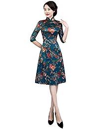 Meijunter Qipao Cinese Cheongsam per Donna - Abito da Sera in Raso Vintage  Elegante in Stile c90be0aa1e8