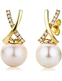 Miore Earrings Women  Freshwater Pearls  Diamonds 1.465 ct Yellow Gold 18 Kt / 750