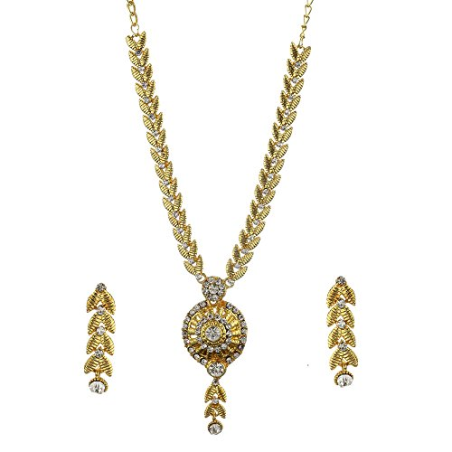 Zeneme Jewellery American Diamond Gold Plated Necklace Set with Earrings For Women  available at amazon for Rs.199