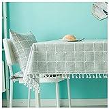 SMC Einfache Moderne graue Plaid Couchtisch TV Kabinett Tuch Tischdecke Stoff Baumwolle Leinen Tischdecke (Größe : 160X160CM)