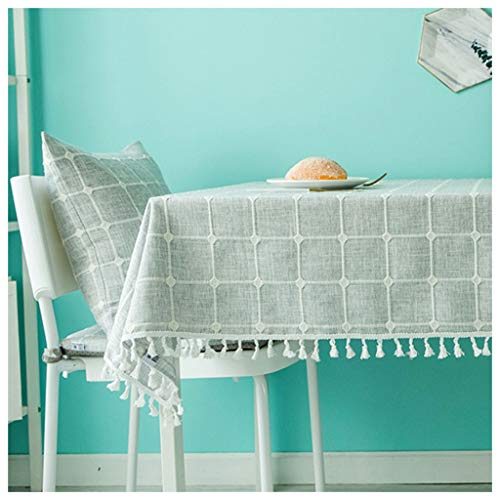 MeiMei Simple Moderne Gris Table Basse à Carreaux TV Cabinet Tissu Table Tissu Tissu Nappe De Coton (Taille : 130X180CM)