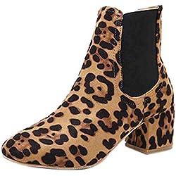 LILICAT❋ Moda Botines de Leopardo de Manga Botas de tacón Alto Gruesas con Botas de Mujer Estampado de Leopardo de Gamuza Mujeres Tacones Gruesos Botines de Tobillo Botas Cortas para Mujer