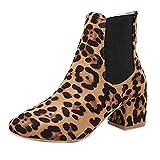 Selou Damen Wildleder-Booties mit Leopardenmuster Frauen dicke High Heels Stiefeletten Nackte Stiefel Starke Ferse Damenschuhe Spitzlederschuhe winterschuhe schuhe winterstiefel winterboots