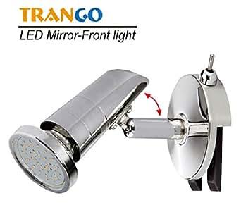 LED Spiegelleuchte inkl. 1x GU10 Power SMD LED LM TG2248-018 Wandleuchte Chrom Design Bad Lampe Badleuchte ON/OFF Schalter ©Trango-Brilon