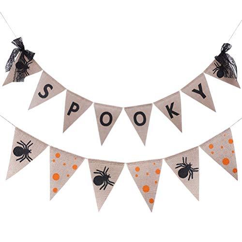 Bunting Banner Set Leinen Spooky Buchstaben Spider Banner Anzüge Home Party Dekorationen Halloween Requisiten liefert (F) ()