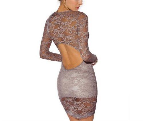 QIYUN.Z Dentelle Sexy Le Dos Nu De La Femme Long Troncon De Gaine Moulante Ol Robe Clubwear elegant Gris