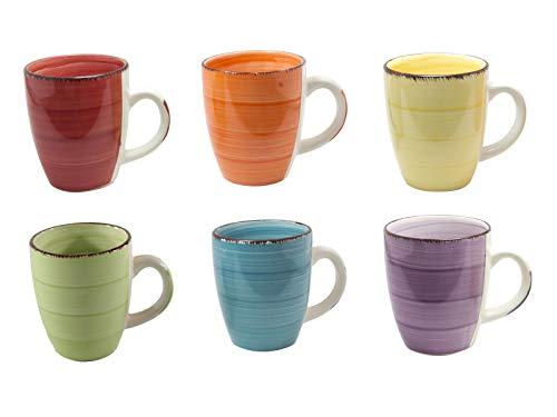 6er Set Kaffee Tee Kakao Becher Tassen Pott Porzellan Uni bunt Modernes Design ca. 350 ml (Gelb,Grün,Orange,Blau,Rot und Lila) Frühstück Becher-set