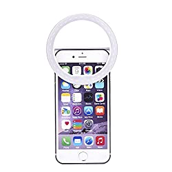 CHKOKKO 36 LED Selfie Ring White Flash Light [Adjustable Brightness] [3 Filter], LED flash light with Three levels of brightness to click selfies for iPhone 6s/6s Plus, Android, iPad, HTC, SONY and Mac Book , White