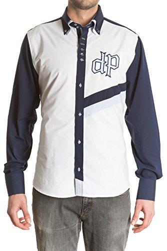 di-prego-camisa-de-hombre-manga-larga-color-blanco-y-mangas-azul-marino-con-bordado-cuello-doble-y-p