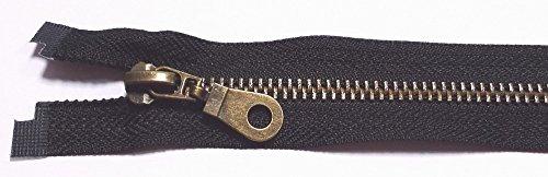 Reißverschluß Metall teilbar für Jacken 70 cm schwarz antik