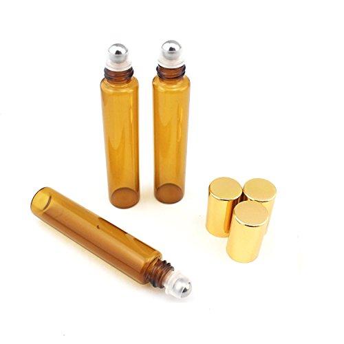 10 ml, 1/3 g), aromaterapia in bottiglia in vetro con Mental Ball, ambra-Set di 6 bicchieri di plastica, colore coperchio-Thick e resistente, oli essenziali per aromaterapia, profumi e Lip Balms