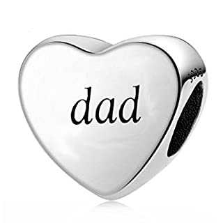 You Raise Me Up Dad 925 Sterling Silver Charms Fit Pandora Bracelets,Gift for Father Day from Daddy's Little Girl Son,Amato Jewellery