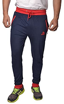Finger's Men's Cotton Ribbed Track Pants With Zipper Pockets (TPBLR30_Blue-Red _30)