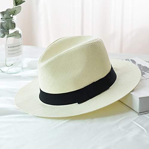 SAFZES 2019 été Nouveau Chapeau de Paille Hommes et Femmes Chapeau de Paille en Plein air Parasol Plage Jazz Chapeau Chapeau de Cow-Boy m (56-58 cm) Lait Blanc