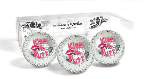 Metallic Kiss (Navika Silver Metallic Golfball mit Kiss My Putt-Aufdruck - Bling)