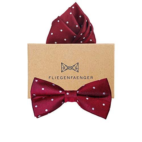 FLIEGENFAENGER® Rote Fliege mit Einstecktuch gepunktet als Set - Bordeaux Rot Weinrote Fliege | bereits vorgebunden | Schleife Querbinder Herren Fliege aus Seide