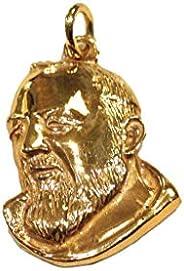 Padre Pio - Pendente in argento 925% e doratura