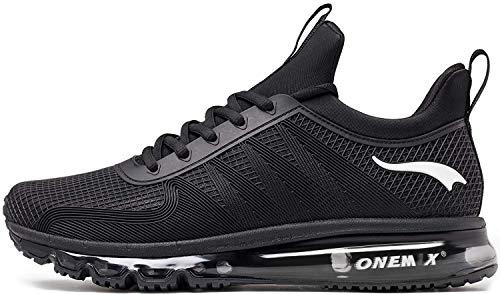ONEMIX Scarpe da Ginnastica da Uomo Corsa Sportive Fitness Running Sneakers Basse Interior Casual all'Aperto 1191 Nero 46