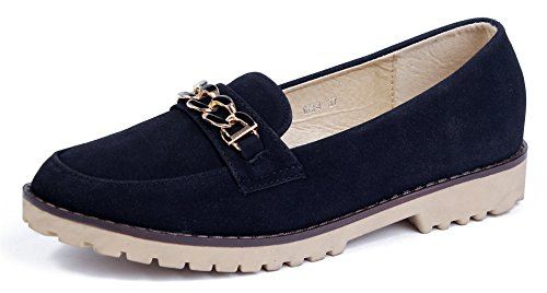 Ageemi shoes donna slip on nubuck mocassini basse scarpe da barca donna,eud44 nero 39
