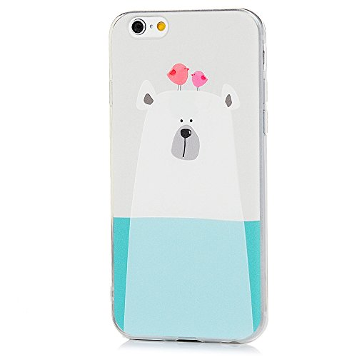 MAXFE.CO TPU Silikon Hülle für iPhone 6 6S Handyhülle Schale Etui Protective Case Cover Rück mit Großer weißer Hund Skin Silikon Stereo Lithographie Design Großer weißer Hund