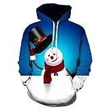 SEWORLD Weihnachten Christmas Herren Männer Herbst Winter Weihnachten Drucken Langarm Mit Kapuze Sweatshirt Top Bluse(X1-a-blau,EU-46/CN-L)