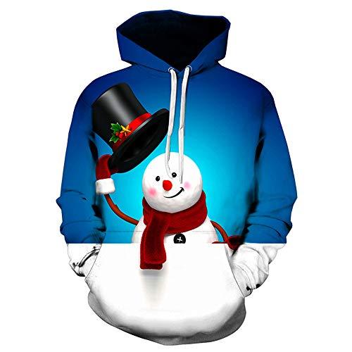 SEWORLD Weihnachten Christmas Herren Männer Herbst Winter Weihnachten Drucken Langarm Mit Kapuze Sweatshirt Top Bluse(X1-a-blau,EU-48/CN-XL)