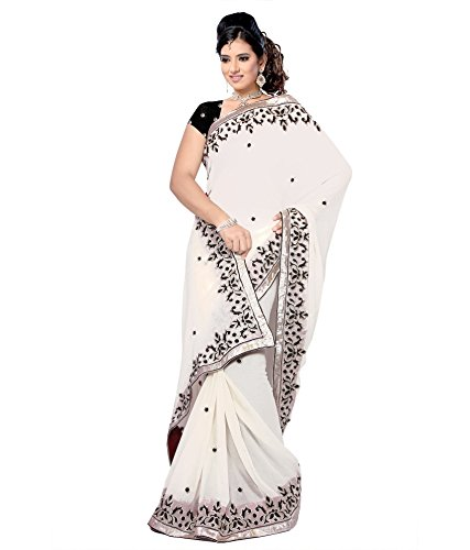 Yuvati Sarees Border Work Saree (9048_White)
