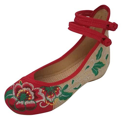 Patent Leder Knöchel Gurt (Deloito 2019 Damen Mädchen Flache Schuhe Freizeit Bestickte Schuhe Hoher Anstieg Knöchel Erbsenschuhe Doppelter Gurt Segeltuchschuhe (Rot,39 EU))