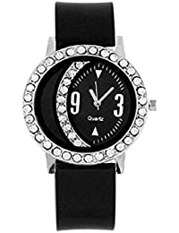 Style Keepers Presents Girl's Black Analogue Watch (Woman's Watch_Moon Black) | Fashion Wrist Watch | Women Watch