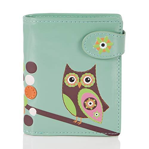 Shagwear Junge-Damen Geldbörse, Small Purse: (Eule Hell-Aquamarin / Retro Owl)