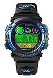 Kinderuhren für Jungen, 5ATM Wasserdicht Jungen Uhren mit 12/24H/Wecker/Stoppuhr/EL Licht, Blau Kinder Digitaluhren Elektronische Armbanduhren für Junge ab 5 Jahre Geburtstag/Weihnachten Geschenke